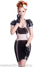 R1723 Latex Gummi DRESS UK 8 £239 RRP WESTWARD BOUND *BLK/BABY PINK* Seconds