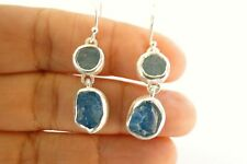 Rough Aquamarine Apatite 2-Stone 925 Sterling Silver Dangle Earrings