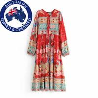 Vintage Red Blue Green Floral Long Sleeve Boho Midi Maxi Tassel Dress