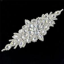 1x Beaded Crystal Rhinestone Applique Sew Iron on Wedding Bridal Belt Sash Dress
