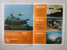 5/1972 PUB AEROSPATIALE ENGIN TACTIQUE MISSILE EXOCET HOT AMX 30 ROLAND MILAN AD