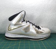 Nike Lebron 10 ID Diamond Collection White & Gold Basketball Sneakers~Size 11.5