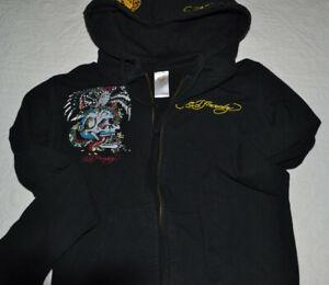 Don Ed Hardy hoodie jacket black rhinestone Christian Audigier womens medium