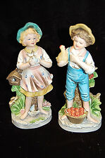 Homco Home Interiors #8880 Boy w/ Chicken & Girl w/ Bird Figurines S4515