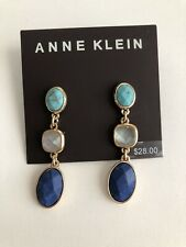 NEW ANNE KLEIN GOLD TONE TURQUOISE BLUE DROP EARRINGS MSRP $28
