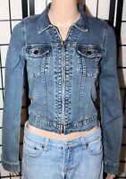 VINTAGE ABERCROMBIE & FITCH Women's XS Stretch Denim Jean Jacket Coat Zip Front