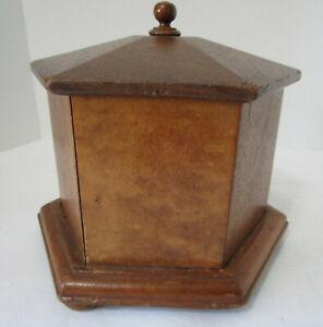 Antique 1800's Primitive Wooden Hexagon Box with Lid Bun Feet