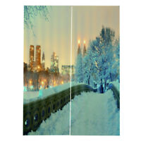 Thermal Insulated Blackout Curtains Snow City Printed Door / Bedroom Curtain