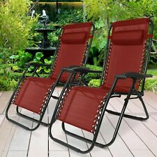 ZERO GRAVITY CHAIR SUN LOUNGER OUTDOOR FOLDING RECLINING ADJUSTABLE RED X 2