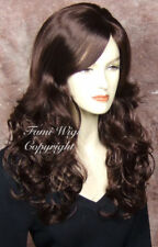 Long Wavy Side Parting Wig in Dark Cherry Brown / Brilliant Fibre Great Qualit