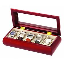 Mele & Co Cherry Wood Finish Watch Box Holds 5 watches NEW   22470