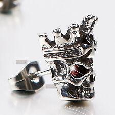 silver stud red crystal SINGLE vintage style skull crown king earring