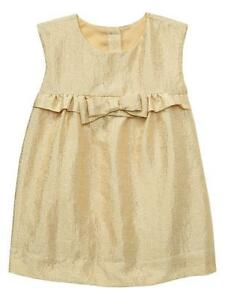 BABY GAP GIRLS GOLD PLAYA CHRISTMAS BROCADE SHIFT DRESS  $49.95 18-24 MOS BNWT