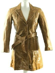 Woman's Sule Leather Coat Made In The UK Vintage Size 12UK With Belt & 3 Buttons