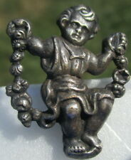 """Old French Button """"CHILD ON VINE SWING"""" Realistic Vintage Antique Metal"""
