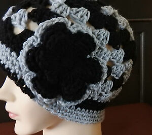 Beanie style hand crochet Woman  or teen  hat  Black & Gray - Silver  Chemo NEW