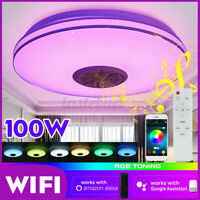 100W Smart bluetooth WIFI LED Ceiling Light RGB Speaker Dimmable Lamp Remote Kit