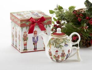 Delton Porcelain Tea for One Gift Set  Stacked Teapot & Cup NUTCRACKER