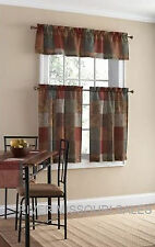 Tuscan Inspired Palette Of Neutrals 3 Piece Window Valance and Tier Set - NEW