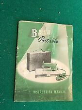 VINTAGE BELL (I. J. MORITT) PORTABLE SEWING MACHINE INSTRUCTION MANUAL