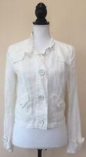 CAbi Women's White Metal Button Casual Spring Jacket Top 100% Linen Sz S Long Sl