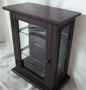 EBONY WOOD  DISPLAY CASE  GLASS DOORS & SIDES & 2 SHELVES DISPLAY CABINET