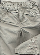 H&M Lt KHAKI EMBROIDERED TROUSERS 4-6Mths **VGC**