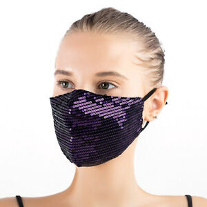 Sequin Face mask with FILTER Sparkle Glitter Bling Fashion Mask Party 100 Cotton