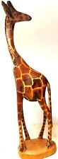 HAND-CARVED Maasai Wooden African Giraffe Statue  Very Unique Art Sculpture