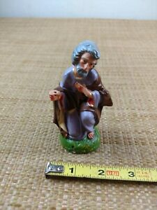 Vintage Nativity Figure Hand Painted Made in Italy Joseph NO STAFF.