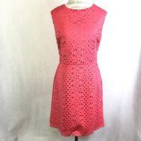 Trina Trina Turk Womans Sleevless Coral Dress Sz  12 Fit Flare Eyelet Keyhole