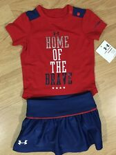 Under Armour Outfit Baby Toddler Size 0-3 Months Red White And Blue NEW!
