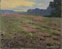 Hugo Eichler Berlin Landschaft in der Abendsonne Ölbild Studie 19 x 24 cm