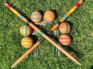 Vintage Wooden Croquet Balls Ribbed with Stripes, Stakes and Wickets