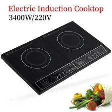 3400W Portable Touch Control Induction Hob Electric Double Cooker Cooktop Black