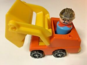 Fisher Price Little People Front Loader With Construction Worker & Sliver Hat