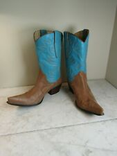 Guess by Marciano Punk Teal/Brown Stitched Leather Western Women's Boots 7.5 M