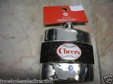 NEW Holiday ! Christmas Decoration Black Sparkle Cheers Bottle  Ornament