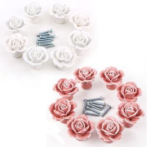 8 St. Weiß/Rosa Rose Design Porzellan Möbelknöpfe Möbelgriffe Schrank Türknauf