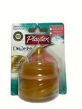 Playtex Drop-Ins Orthodontic Medium Flow Latex Nipples for 3+ Months 2 Nipples