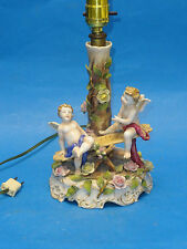 RARE ANTIQUE 19 c VON SCHIERHOLZ DRESDEN PORCELAIN CHERUB on SEESAW TABLE LAMP