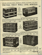 1920 PAPER AD 2 PG Travel Trunk Leather Sdtraps Steamer Trunks Canvas Flat Top