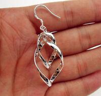 925 Sterling Silver Plated Eardrop Women Jewelry Heart Hoop Dangle Earring Stud
