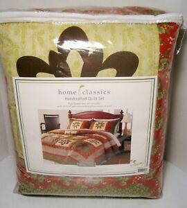 New ST. NICHOLAS SQUARE HOME CLASSICS Holiday Hooray Rev Quilt Set Full / Queen