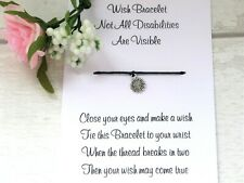 Hidden Disability Wish Bracelet Friendship Card Sunflower Charm Awareness Gift