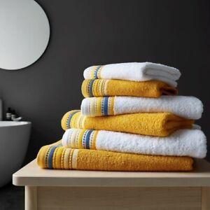 2pk Malton Embroidered Hand Towel Ochre Yellow 100% Cotton Luxury Soft Towel New