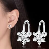 Korean Cute Sweet Christmas Tree Snowflake Ear Clip Girls Zircon Ear Earrings