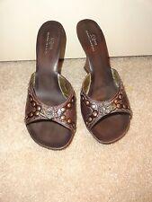 MARK NASON SIREN Heels / Slides Women's Size 8 Brown Leather Sandals ~ CUTE!