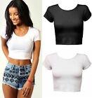New Women Crop Top Ladies Short Sleeve Crop Top T Shirt UK Size 8-14
