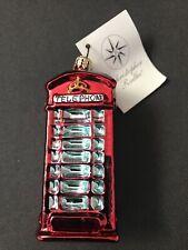 Nwt Christopher Radko Christmas Ornament London Calling British Telephone Booth